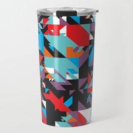 Colorful Texture Purple, Turquoise, Orange, White, Red and Black Travel Mug