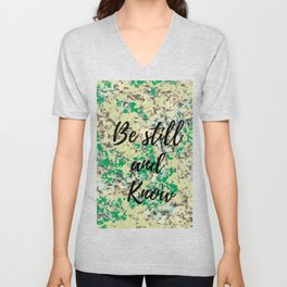 Be still and know camouflage print Unisex V-Neck