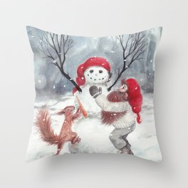 Gnome and squirrel building snowman - Christmas Throw Pillow