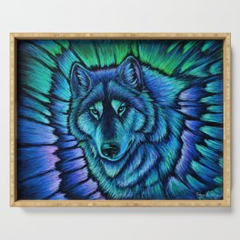 Blue Wolf Aurora Colorful Fantasy Serving Tray