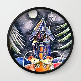 Christmas Mice Wall Clock