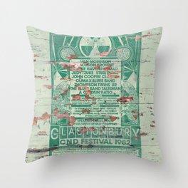 Distressed Glastonbury 1982 Poster Throw Pillow