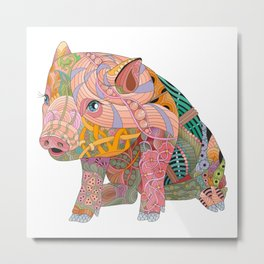 Flowers Pattern Pig With Letters Metal Print