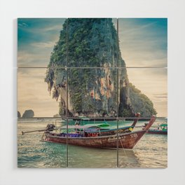 Boat in the sea Wood Wall Art