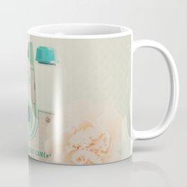 peach flowers & a mint green camera photograph Coffee Mug