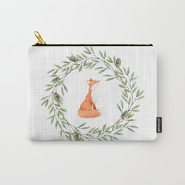 Cute Fox in Acorn Wreath Carry-All Pouch