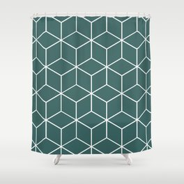 Cube Geometric 03 Teal Shower Curtain