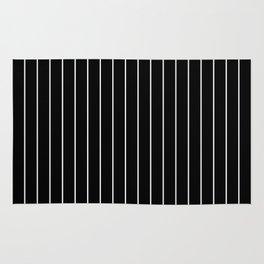 Classic White Baseball Stripe Lines On Black Rug