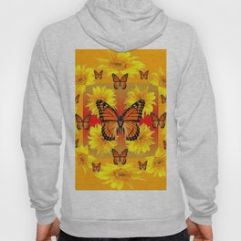 ORANGE MONARCH BUTTERFLIES & YELLOW SUNFLOWERS Hoody