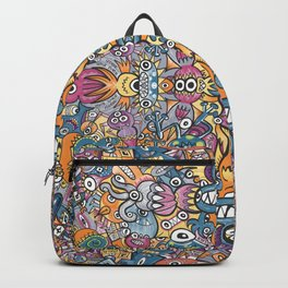 Mad monsters and odd robots form a crowded pattern design full of colors Backpack