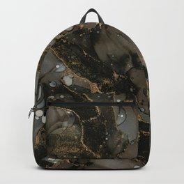 Midnight Gold - Abstract Ink Painting Backpack