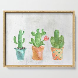 Three Green Cacti Watercolor White Serving Tray