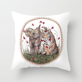 Tiger, Baby Elephant, and Mouse Playing in Poppies Throw Pillow