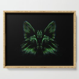 Space cat. cat's head flies out of space in the color spectrum. Serving Tray