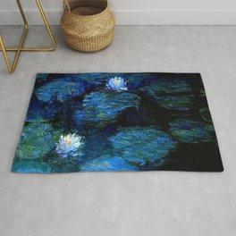 monet water lilies 1899 blue Teal Rug