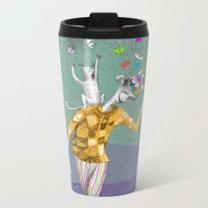 the imaginative robot clown and his cat friend Metal Travel Mug
