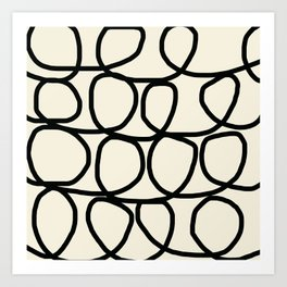Loop Di Doo Cream & Black Art Print