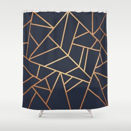 Copper and Midnight Navy Shower Curtain