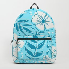 Modern Flower Blossom and Leaf Botanical Pattern in Blue and Gray Backpack