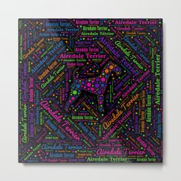 Airedale Terrier Fun Dot Art and Word Pattern Metal Print