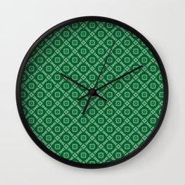 Green Retro Feeling Diamonds and Squares Pattern Wall Clock