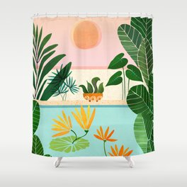 Shangri La Sunrise / Tropical Poolside Scene Shower Curtain