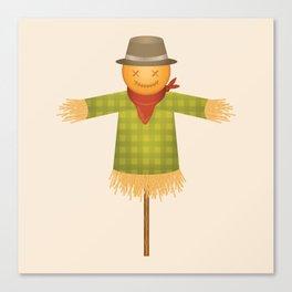 Autumn Scarecrow Cartoon Illustration Canvas Print