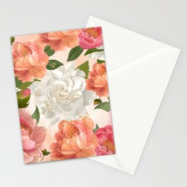 Peony Flowers Pattern Stationery Cards