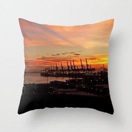 Sunset Port Throw Pillow