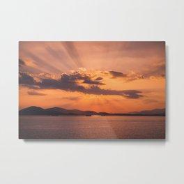 Sunset in the Aegean Sea Metal Print