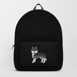 Black And White Siberian Husky Dog Cute Cartoon Illustration Backpack