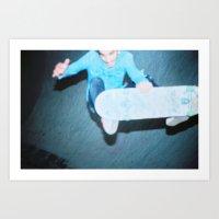 a blurry pic of a skateboarder Art Print