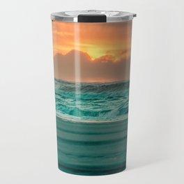 Turquoise Ocean Pink Sunset Travel Mug