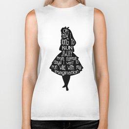 Alice In Wonderland - Quote - black and white Biker Tank
