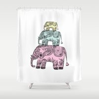 elephants Shower Curtains featuring elephants by Bearcat