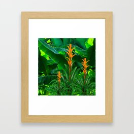 GREEN JUNGLE & TROPICAL CORAL BROMELIAD FLOWERS Framed Art Print