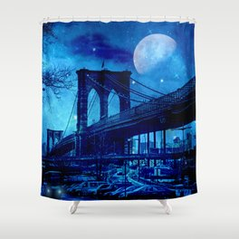 Full Moon Over Brooklyn Bridge Shower Curtain