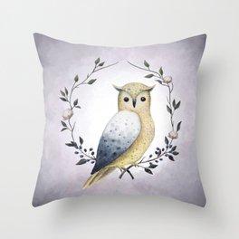 A Long Eared Owl On A Laurel Throw Pillow