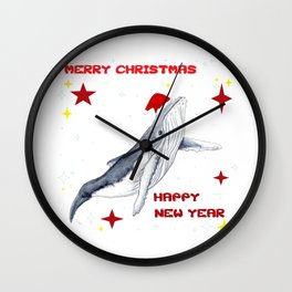 Merry Christmas Season greetings for whale lovers Wall Clock