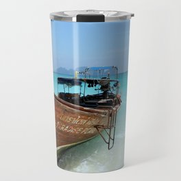 Thailand Tropical Beach with Fishing Boat Travel Mug