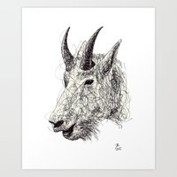 goat Art Prints featuring Goat by Ursula Rodgers