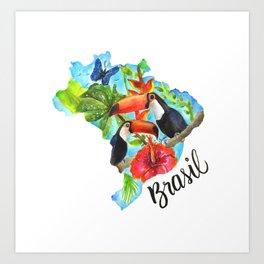 Brasil Watercolor Art Print