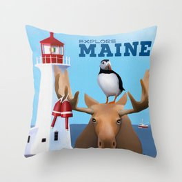 Explore Maine Throw Pillow