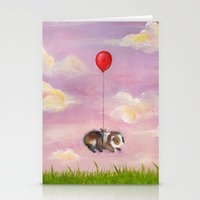 guinea pig Stationery Cards featuring Balloon Ride - Guinea Pig With Balloon by When Guinea Pigs Fly