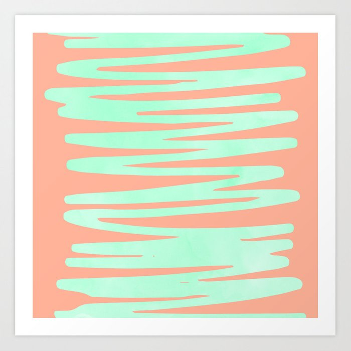 Sweet Life Soft Serve Peach Coral + Mint Meringue Art Print