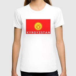 Kyrgyzstan country flag name text T-shirt