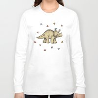 bedding Long Sleeve T-shirts featuring Triceratops & Triangles by micklyn