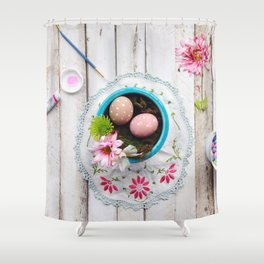Painted Eggs  Shower Curtain