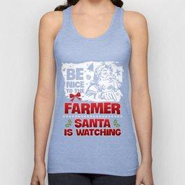 Christmas T-Shirt Be Nice To The Farmer Apparel Xmas Gift Unisex Tank Top
