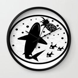 Pineapple Shark Wall Clock